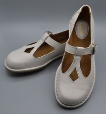 "NEW Clarks ""Tustin Talent"" Ladies White Leather Artisan Mary Jane Shoes UK 4 D"