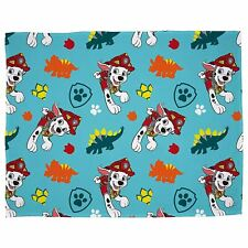 Paw Patrol Dino Blanket Soft Fleece Boys Blue Dinosaur Bedroom Official