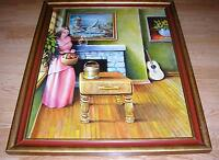 VINTAGE FIREPLACE SUGAR APPLES BUCKET GARDEN GUITAR NAUTICAL SAIL BOAT PAINTING