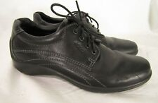 Women's ECCO Black Leather Oxfords size 37 Casual Lace Up Shoes