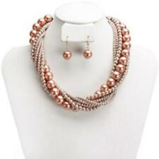 Adjustable Light Brown Pearl Beaded Twisted Necklac W Matching Dangling Earrings