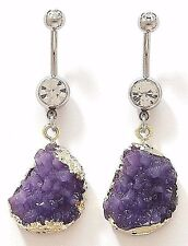 1) Single Fancy Purple Druzy Stone Dangle Belly Ring 14g Gemstone CZ Navel 610