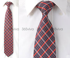 Dark Blue Red White Plaid Checker Handmade 100% Woven Silk 8 cm nch Neck Tie