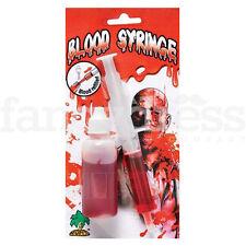Blood Syringe & Refill Haloween Fancy Dress Party Accessory Doctor Nurse Prop