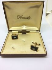 Vtg Krementz Cufflinks Matte Gold Tone Black Diamond Jeweled Ends