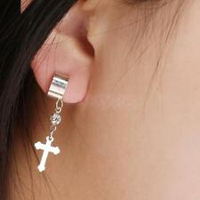 2Pcs Silver Clip ON Dangle Cross Charm Ear Bone Earrings Clip Wrap Cuff Studs