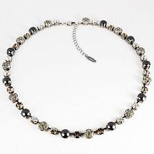 Collier Kette lang Tennis Silber Swarovski Kristalle Pavé Perlen Grau-Mix grau