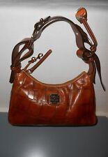 Dooney & Bourke Leather Bag Brown Croco Zipper Handle Shoulderbag Logo Hipster M