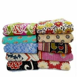 Vintage Kantha throw Upcycled handmade authentic Indien cotton reversible Quilt