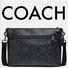 NEW COACH Men's Large Black Monogram Logo Messenger Crossbody Bag Zip Top NWT