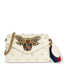 GUCCI Broadway Pearly Bee Shoulder Bag/Cross Body Bag New In Box MFR $4200