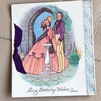 Antique Birthday Card Sharpes Ribbon Crosse Hall Chorley Lancashire Vintage Old