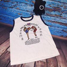 Muay Thai Kick Boxing Women Men Tank Top Vase Singlet T-Shirt White M Imported