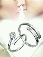 UK STAMPED S925 Silver plated couple Ring Thumb WEDDING CHRISTMAS GIFT BAG