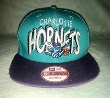 Vintage Charlotte Hornets NBA Hat New Era Adjustable SnapBackHWC 59Fifty Teal