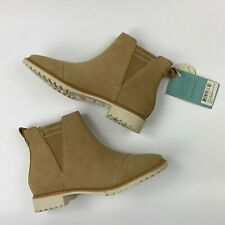 Toms Cleo Suede Ankle Chelsea Boots Size 9 Booties Desert Tan Slip On Resistant