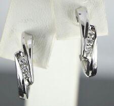 14K Oro Blanco 0.12ct Ct G I1 Diamante Redondo 3g de Presión Pendientes