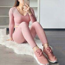 2Pcs Women Tracksuit Casual Pants Sets Leisure Wear Lounge Wear Sport Yoga LIU9