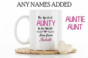 Personalised Best Aunty Auntie Aunt Mug Cup Christmas Birthday Gift