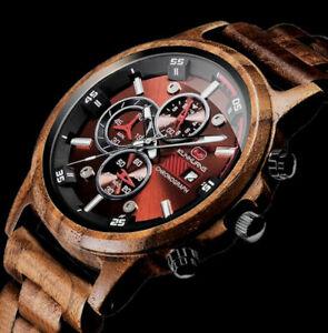 XL Herren Armband Männer Uhr Sandel Holz Braun Wooden Watch KH11 Chronograph