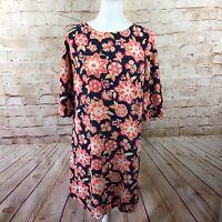 J. Jill Womens Navy Orange Floral 3/4 Sleeve Rayon Shift Dress Size 8