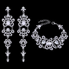 18K WHITE GOLD PLATED GENUINE CLEAR CUBIC ZIRCONIA EARRING AND BRACELET SET