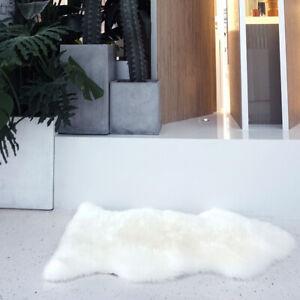 Genuine Real Sheepskin Rug Ivory Sheepskin Single Pelt Wool Fur Rug 2 x 3 ft
