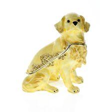 Jeweled Golden Retreiver Puppy Dog Ciel Collectible Hinged Trinket Box