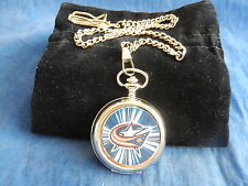 COLUMBUS BLUE JACKETS ICE HOCKEY NHL CHROME POCKET WATCH WITH CHAIN (NEW)