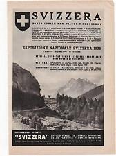 Pubblicità vintage SVIZZERA TURISMO ZURIGO 1939 advert reklame werbung publicitè