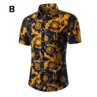 Men Floral Print Dress Shirts Golf Shirt Tees Short Sleeve Hawaiian Holiday