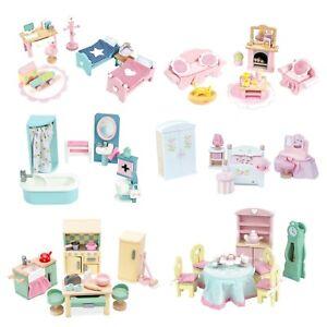 Le Toy Van Rosebud Daisylane Doll House 6 Room Wood Furniture Set Daisy Lane