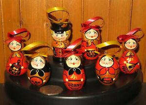 Khokhloma Maryoshka Egg Set 7 Russian hand painted Christmas Tree RED BLACK GOLD