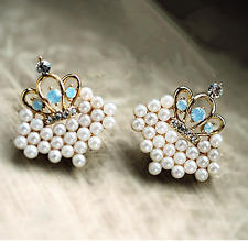 1Pair Gold Women Fashion Lady Elegant Crown Pearl Rhinestone Ear Stud Earrings !