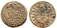Spain-Carlos III (Pretendiente). 2 Reales. 1710 Barcelona MBC+/VF+ Plata 4,5 g.