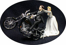 Motorcycle Wedding Cake Topper W/ Black Harley Davidson Funny Groom Top Bike