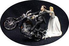Motorcycle Wedding Cake Topper W/ Black Harley Davidson Funny Groom Top Bike