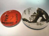 Antique Hand painted Japanese Plates Vintage Ceramic Dishware