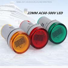 22mm Ac60 500v 3 Color Led Voltmeter Voltage Meter Indicator Pilot Light Diy
