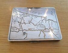 More details for rare vintage silver plated  card/cigarette case ingraved israel/palestine map