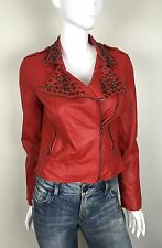 Forever 21 Motorcycle Jacket Faux Leather With Studs Red Size Medium