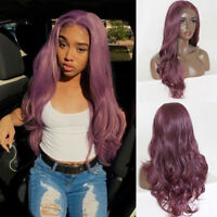 Purple Color Lace Front Wig Heat Resistant Synthetic Hair Long Body Wavy Wigs