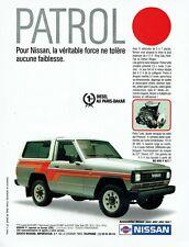 Publicité Advertising 099 1987  Nissan Patrol 4x4 1° Diesel Paris- Dakar