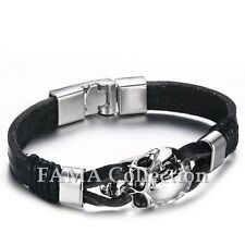 Quality FAMA Black Leather Double Strap Bracelet with Centered Skull NEW