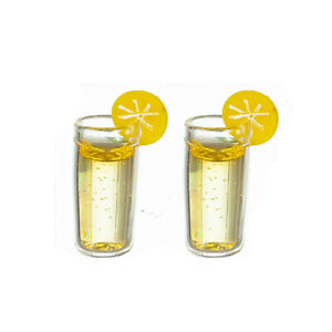 Miniature Dollhouse 2 Glasses of Lemonade 1:12 Scale New
