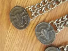 BIG~LONGHORN~SKULL~VEST EXTENDERS~LOT of 4~HARLEY RIDER~ACCESSORIE~CHAIN~LEATHER