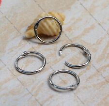 10 Silver tone Hinged Ring Card binder Key ring clasp  Stitches ring 25mm