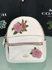 COACH MINI CHARLIE BACKPACK WITH HAWAIIAN FLORAL EMBROIDERY F28953 CHALK