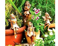 SET OF 4 GARDEN FAIRIES ORNAMENTS - IDEAL FOR SITTING ON PLANT POTS OR ROCKERIES