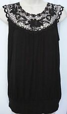 Womens Black Lace Neck Sleevless Tunic Top Shirt Blouse S